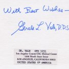 Forensic Dentistry Expert GERALD LEE VALE Autographed Card 1979