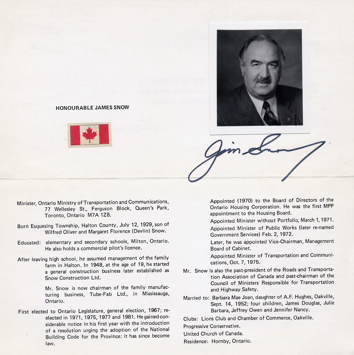 Canada - Ontario Former Cabinet Minister JAMES SNOW Autographed Flyer 1983
