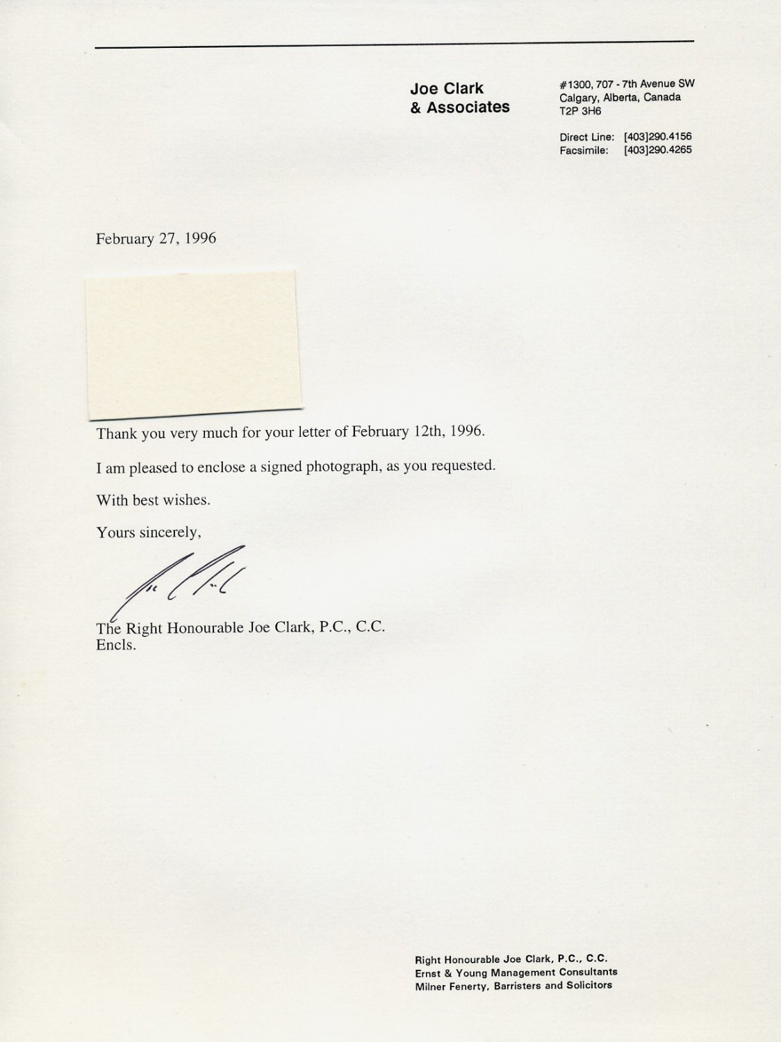1979-80 Prime Minister of Canada JOE CLARK Typed Letter Signed 1996