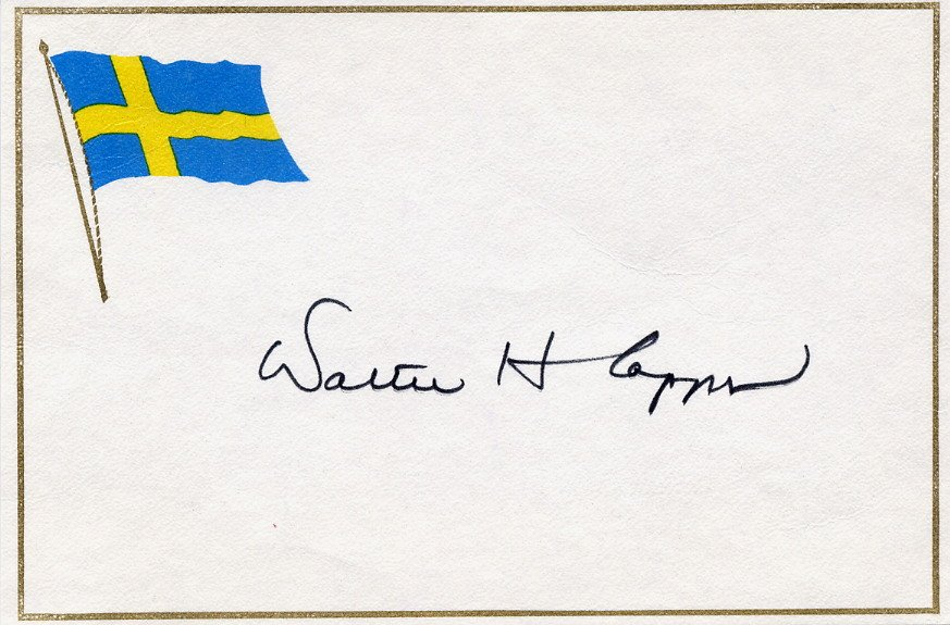 US Representative from CA WALTER H CAPPS  Autographed Card 1985
