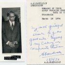 India - Diplomat & Writer A K DAMODARAN Autograph Note Signed 1974