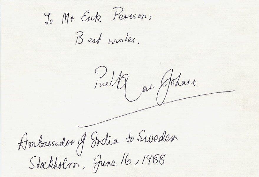India - Diplomat Ambassador PUSHKAR JOHARI Autograph Note Signed 1988