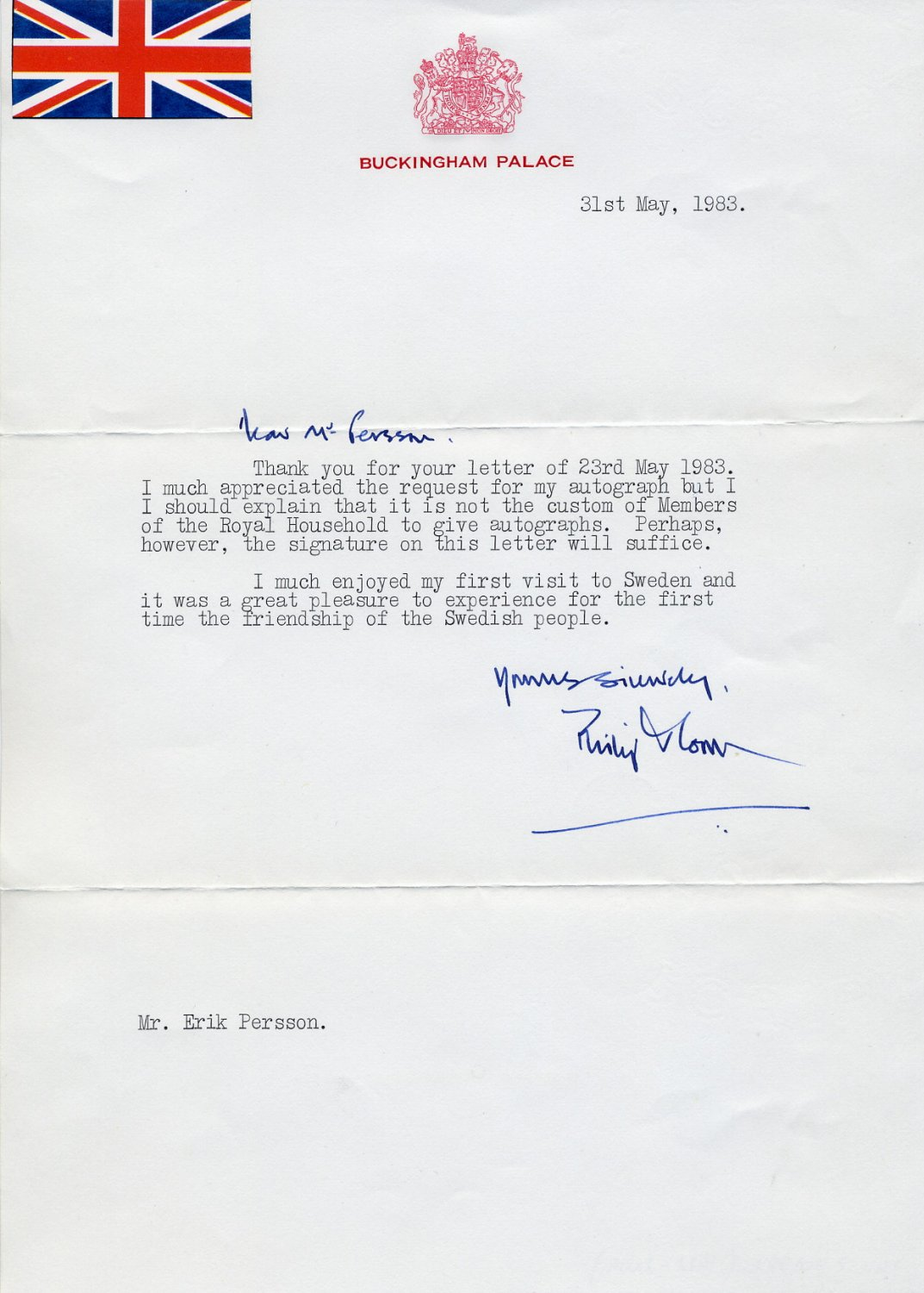 1977-86 Private Secretary to Queen Elizabeth II PHILIP MOORE Typed Letter Signed 1983
