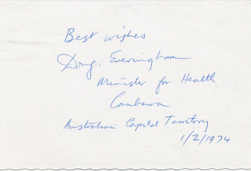 Australia - 1972-75 Minister for Health DOUG EVERINGHAM Autographed Card 1974