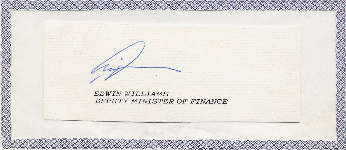 Liberia - 1975-76 Minister of Finance EDWIN WILLIAMS Autograph Cut 1975