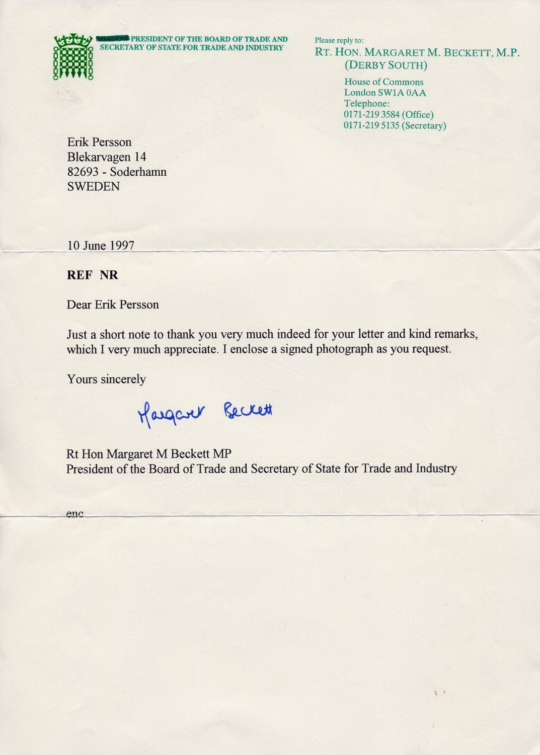 British Labour Party Politician & Foreign Secretary Dame MARGARET BECKETT Typed Letter Signed 1997