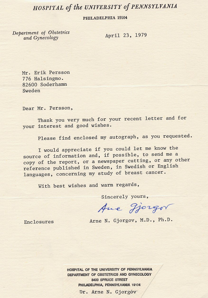 Cancer Researcher Epidemiologist ARNE N GJORGOV Typed Letter Signed 1979