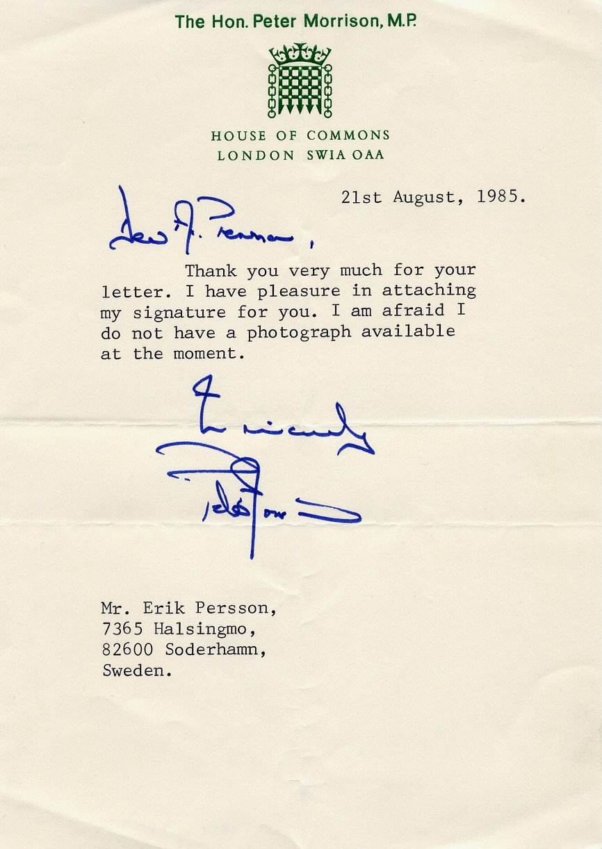 British Conservative Politician Thatcher Aide PETER MORRISON Typed Letter Signed 1985