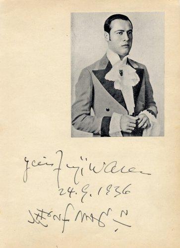 Japan - Famous Operatic Tenor YOSHIE FUJIWARA Autograph from 1936 RARE!