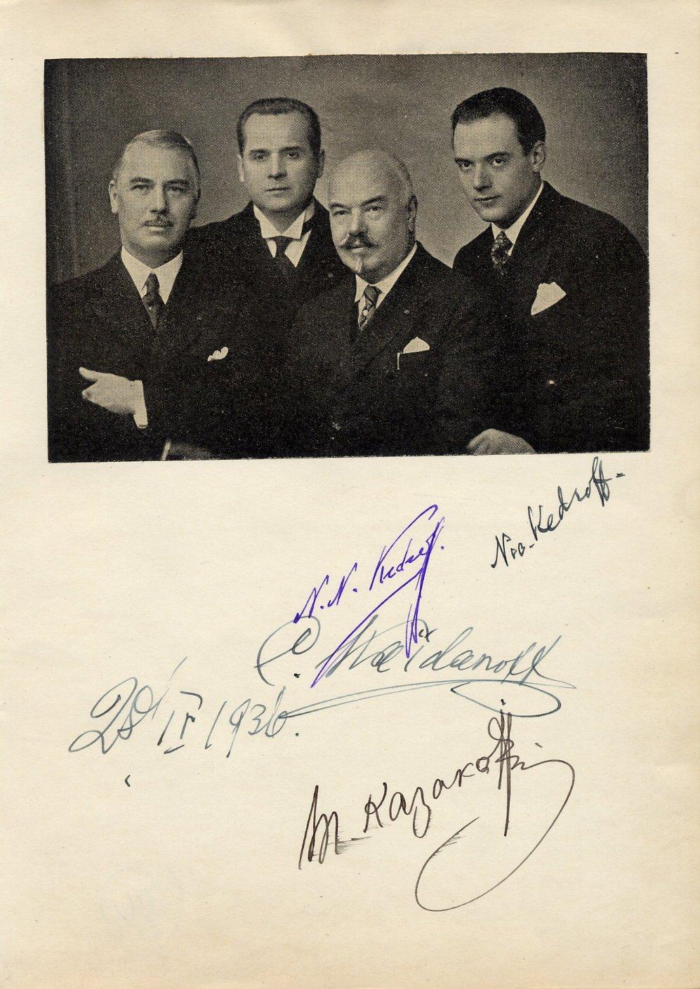 Famous Russian Vocal Ensemble Kedroff Quartet  Autographs from 1936
