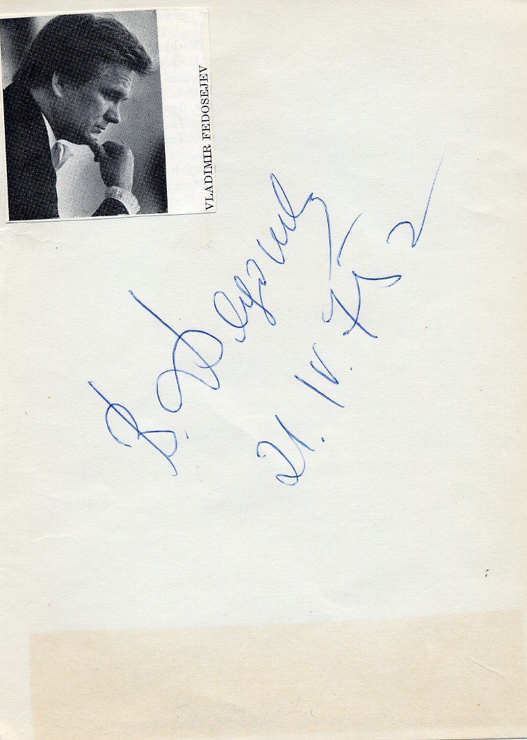Russian Conductor VLADIMIR FEDOSEYEV Autograph from 1975