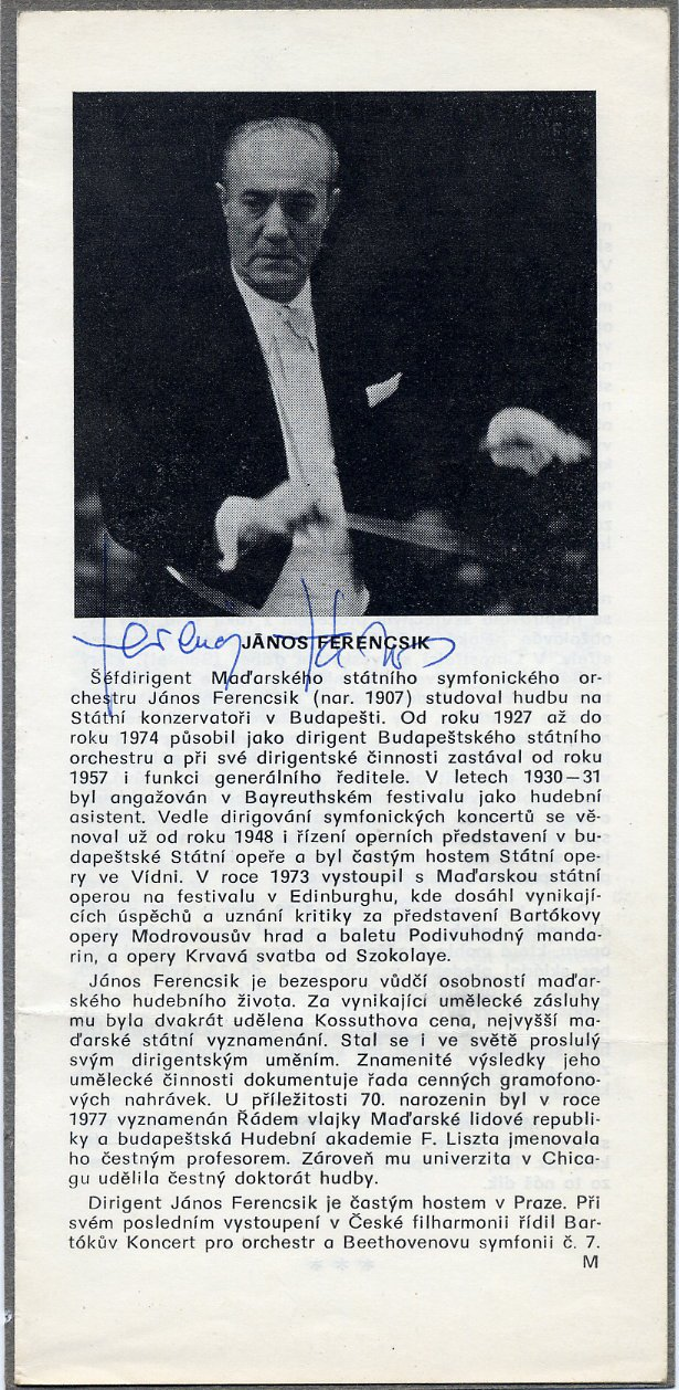 Hungarian Conductor JANOS FERENCSIK Autographed Concert Program Page 1970s