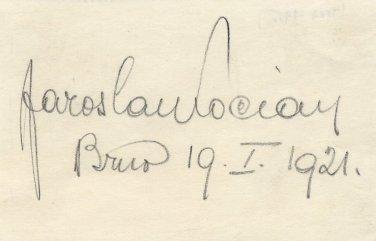Famous Czech Violinist JAROSLAV KOCIAN Autographed Sheet from 1921