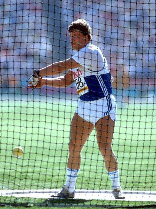 (R) 1984 Athletics Hammer Throw Gold JUHA TIAINEN  Autographed Card 1980s