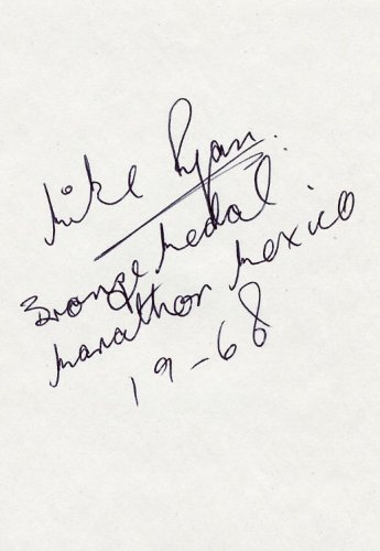 (R) 1968 Athletics Marathon Bronze MIKE RYAN  Autograph 1980s