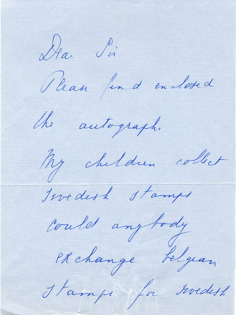 Belgium - Army Chief of Staff Gen Baron CHARLES de CUMONT Autograph Letter Signed 1970s