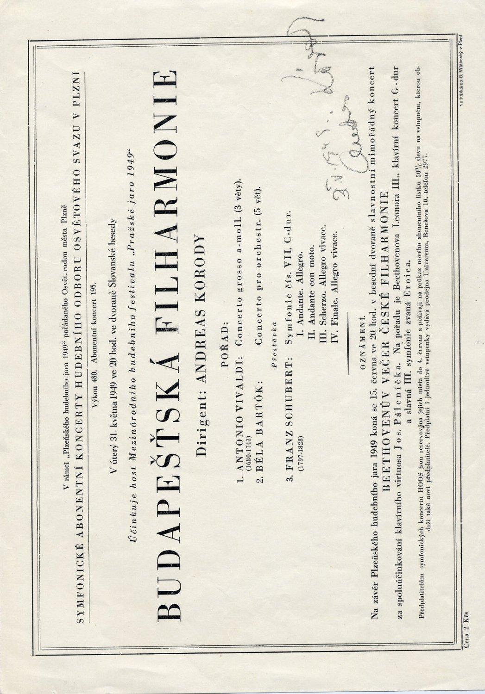 Hungarian Conductor ANDRAS KORODI Autographed Concert Program 1949