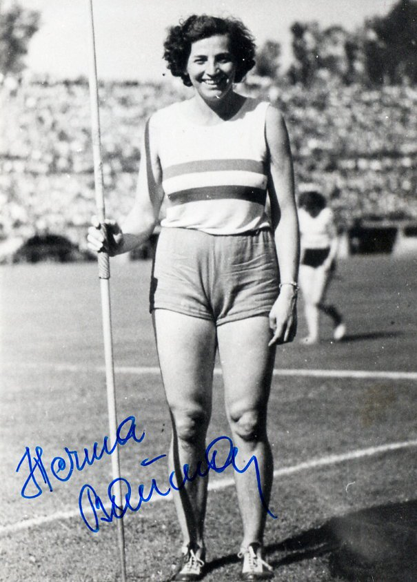 1948 London Olympics Athletics Javelin Gold HERMA BAUMA Hand Signed Photo 1980s
