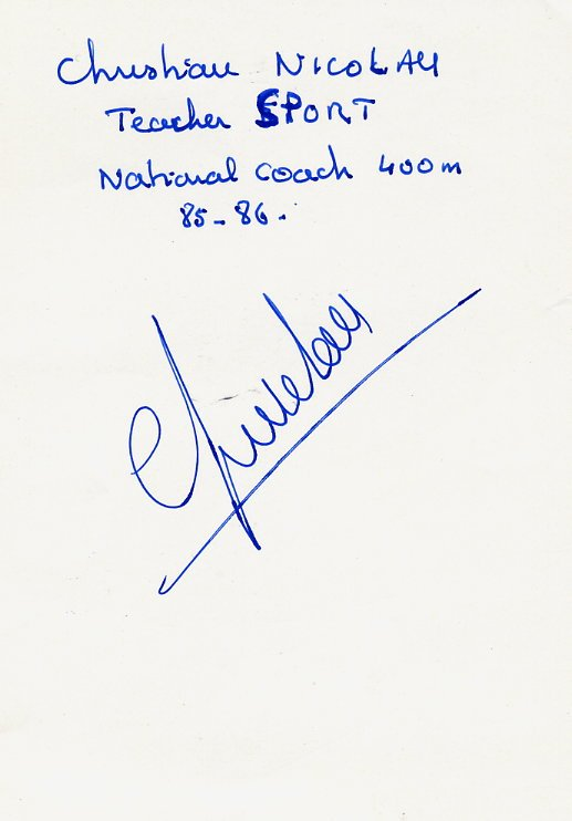 (T) Athletics 1969 ECh 4x400m Gold CHRISTIAN NICOLAU Autograph 1980s