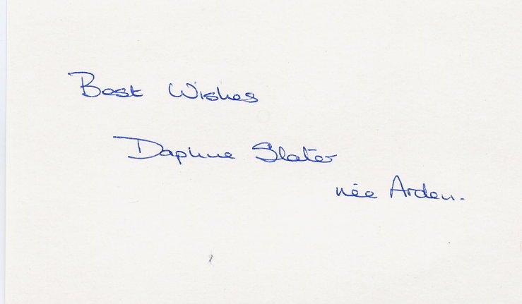 (T) 1964 Athletics 4x100m Relay Bronze DAPHNE ARDEN Autograph 1980s