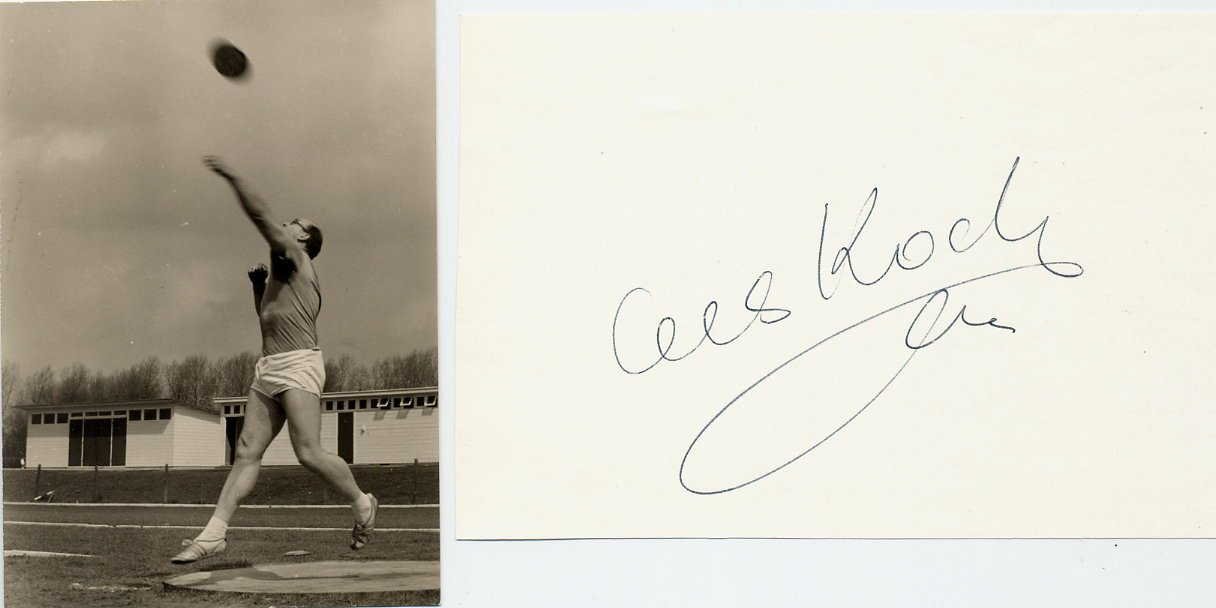 Athletics 1962 ECh Discus Throw Silver CEES KOCH Autograph 1980s