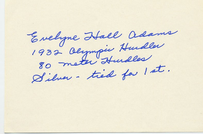 (T) 1932 Athletics 80m Hurdles Silver EVELYNE HALL Autograph 1980s