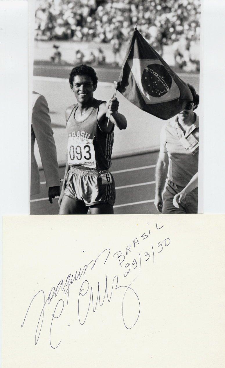 (T) 1984 Athletics 800m Gold JOAQUIM CRUZ Autograph 1990