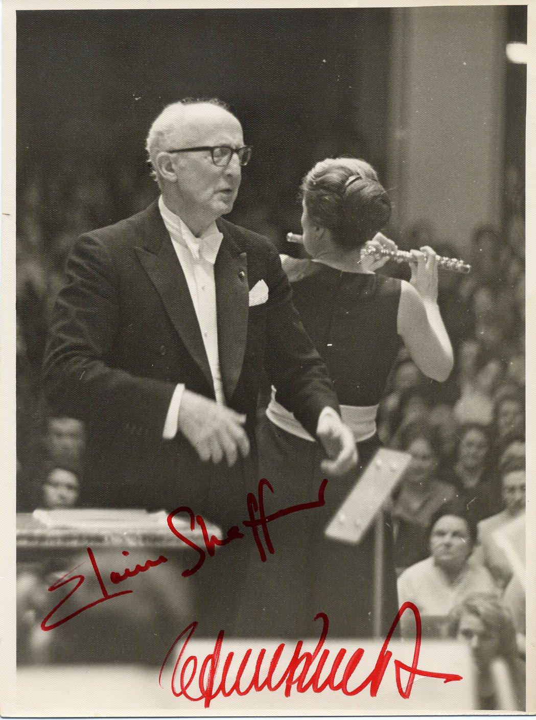 Flutist ELAINE SHAFFER & Conductor EFREM KURTZ Signed Photo 7x9 1960s RARE!