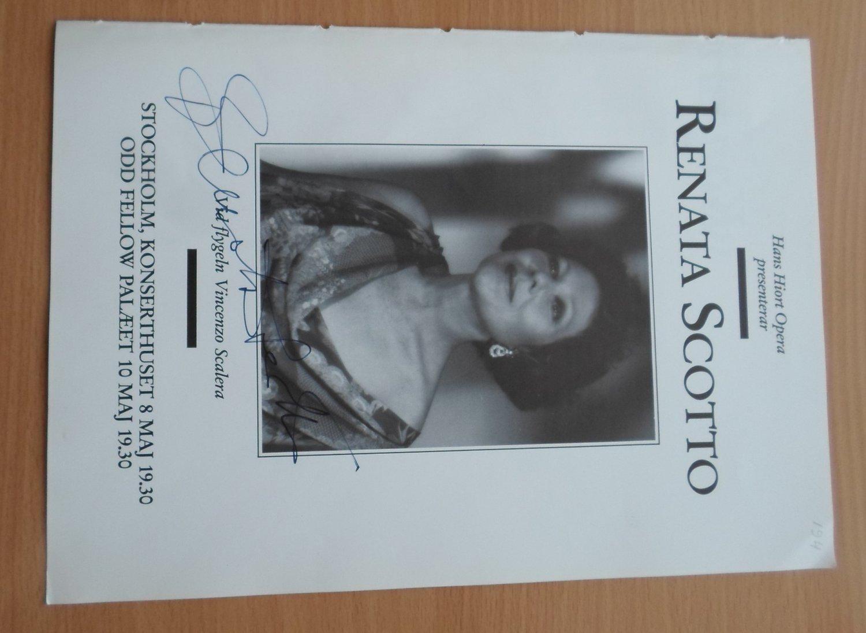 Soprano RENATA SCOTTO & Pianist VINCENZO SCALERA Signed Concert Program