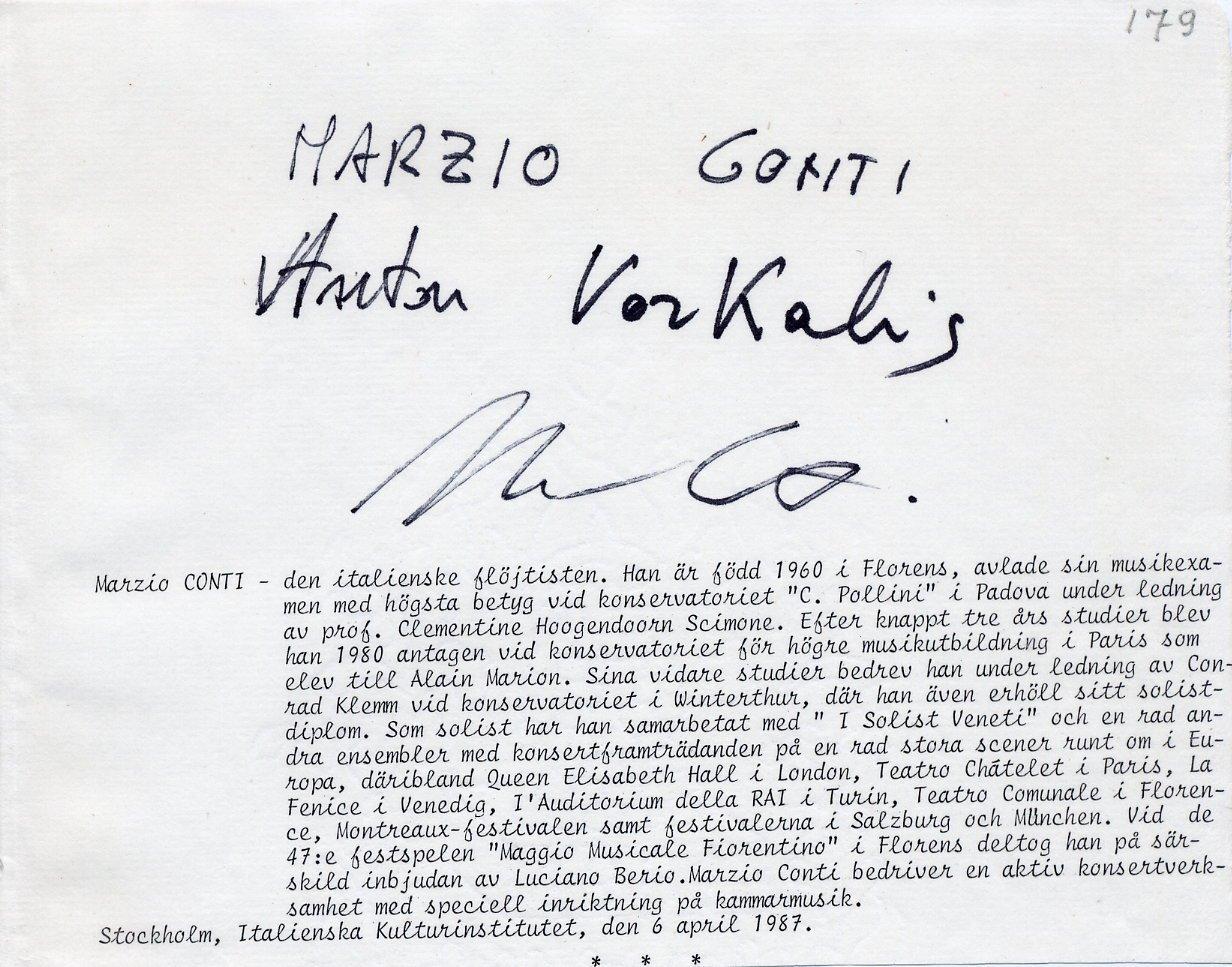 Italian Flautist & Conductor MARZIO CONTI Orig Autograph from 1987