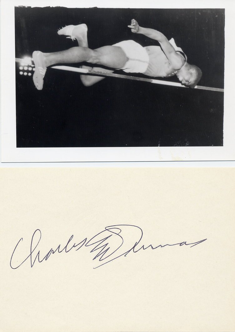 (T) 1956 Olympics T&F High Jump Gold & WR CHARLES DUMAS Autograph 1980s & Pic