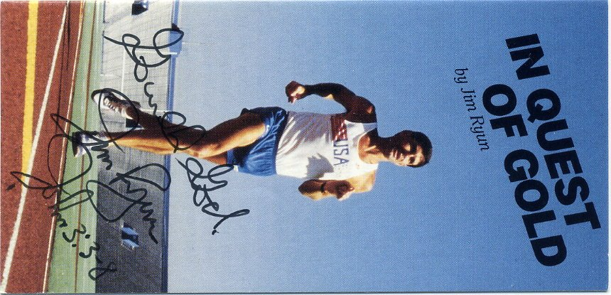 1968 Olympics Athletics 1500m Silver Mile WR JIM RYUN Hand Signed Flyer 1980s