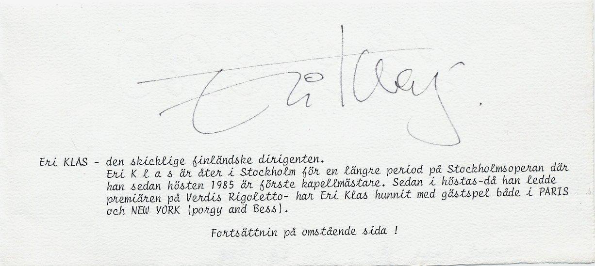 Celebrated Estonian Conductor ERI KLAS Orig Autograph from 1988
