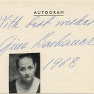 Greek Classical Pianist GINA BACHAUER Autographed Card from 1968