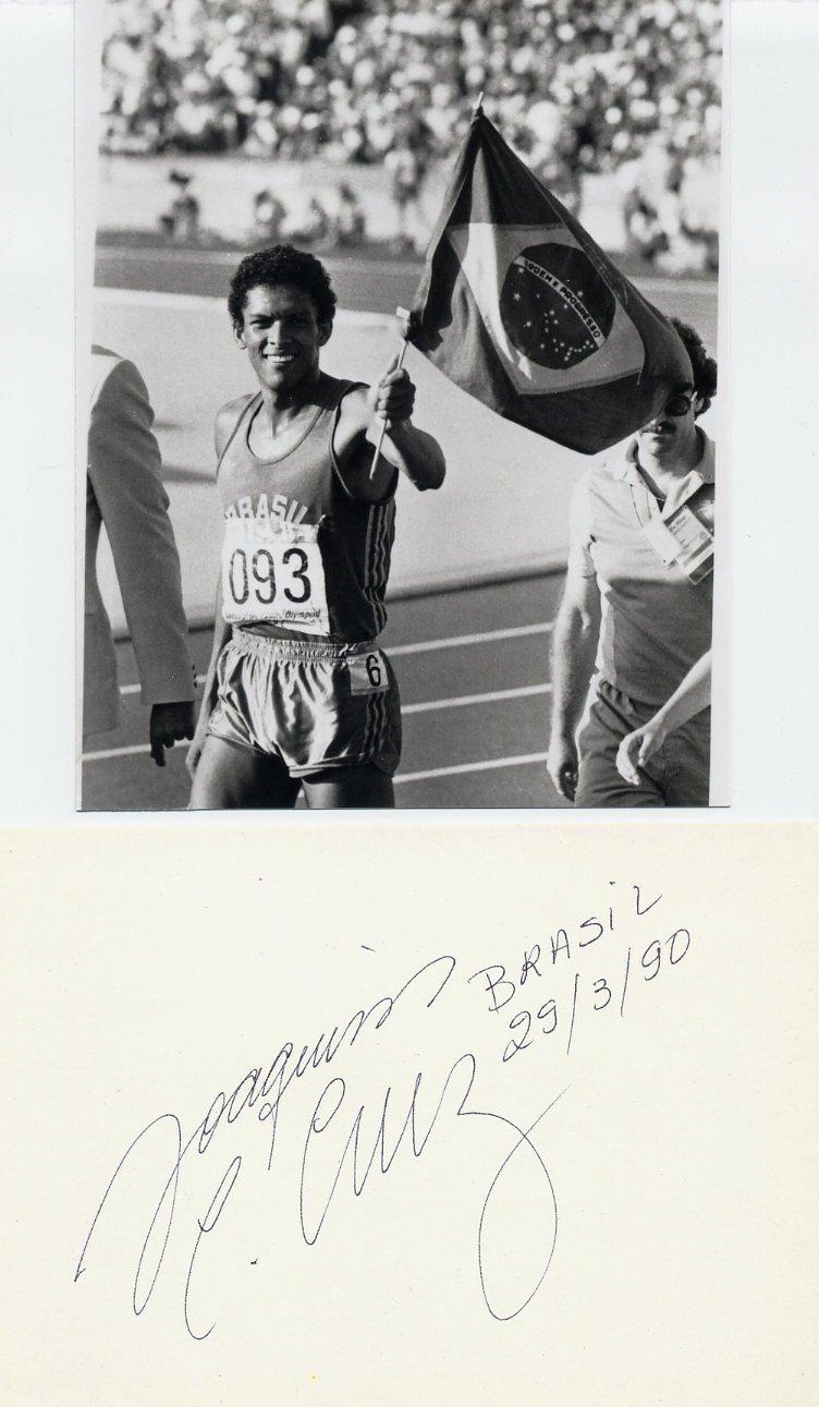 1984-88 Athletics 800m Gold/Silver JOAQUIM C CRUZ Autograph 1990 & Pic