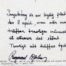 Opera Swedish Tenor RAYMOND BJORLING Autograph Note Signed 1987