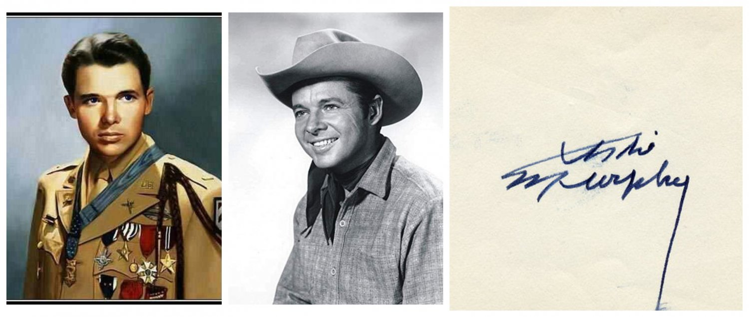 WWII Hero Soldier & Movie Star AUDIE MURPHY Orig Autograph from 1960s
