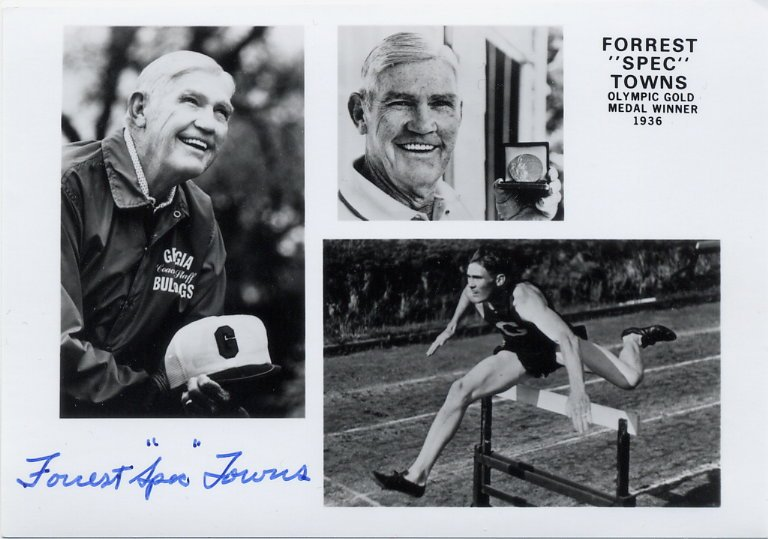 1936 Berlin Olympics T&F 110 m Hurdles Gold FORREST TOWNS Hand Signed Photo