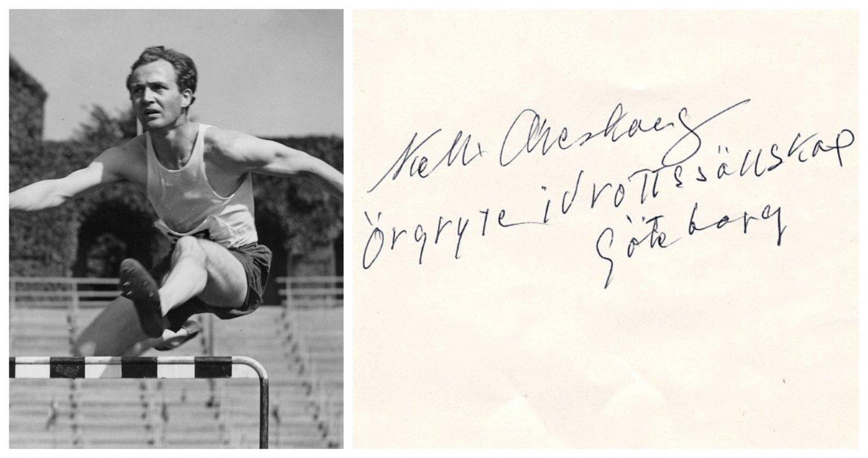 1932 & 1936 T&F 400m Hurdles Olympian KELL ARESKOUG Orig Autograph 1980s