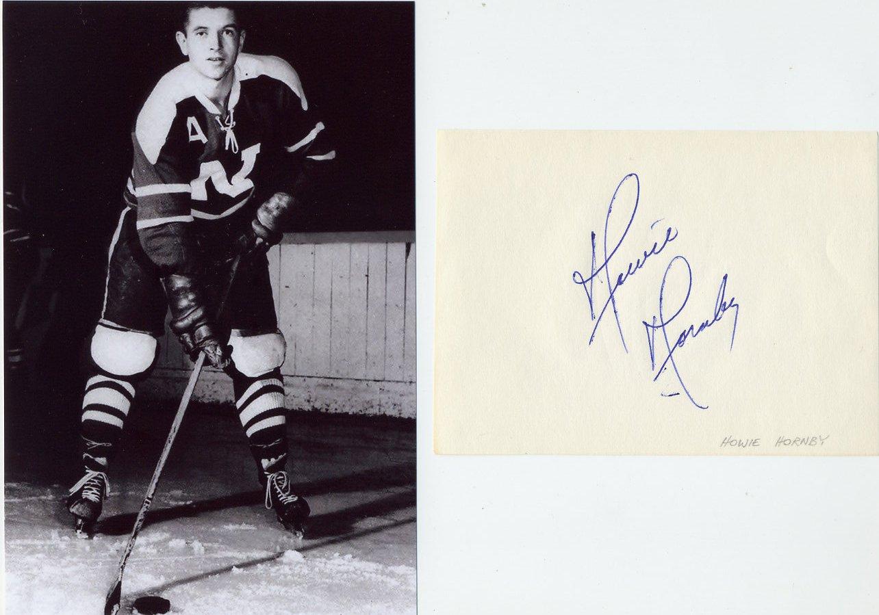 Nelson Maple Leafs Hockey Star HOWARD HORNBY Original Autograph 1960s