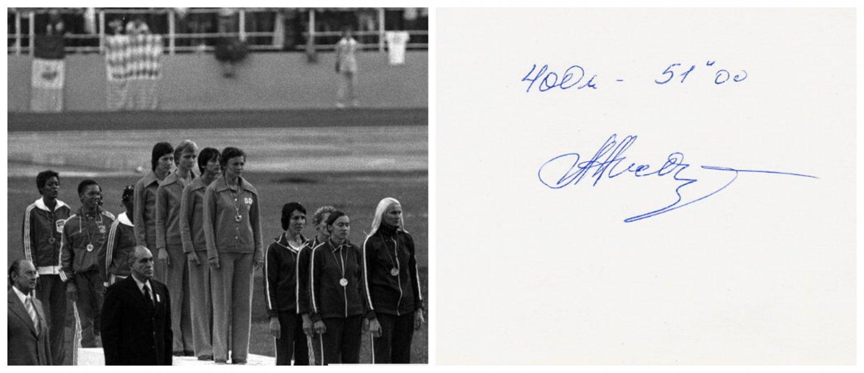 1976 Olympics T&F 4x400m Bronze LYUDMILA AKSYONOVA Orig Autograph 1980s