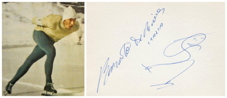 1960-64-68 Speed Skating Olympian RENATO De RIVA Orig Autograph 1960s