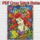 Disney Princess Ariel The Little Mermaid Stained Glass PDF Cross Stitch Pattern