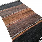 Leather Rug for Fireplace Fireproof Carpet VERTICAL LINES Hearth Fire Resistant