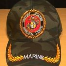 MARINE CIRLCLE LOGO CAP W/BRAID - WOODLAND CAMO
