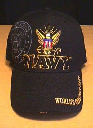 NAVY 3D TEXT SHADOW CAP - BLACK