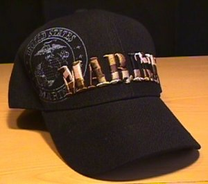 MARINES CAMOFLAGE TEXT SHADOW CAP - BLACK