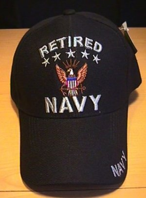 NAVY RETIRED CAP W/5STARS - BLACK