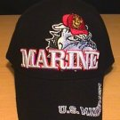 MARINES BULLDOG CAP W/3D TEXT - BLACK