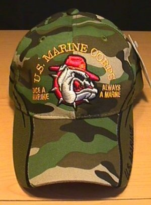 MARINES BULLDOG CAP W/WOODLAND CAMO ACCENTS